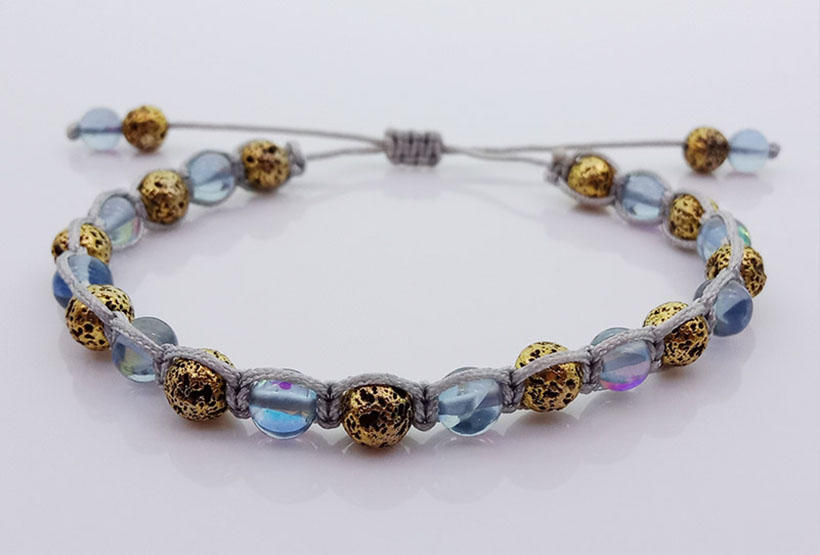 Metallic Lava And Moonstone Bead Woven Bracelet