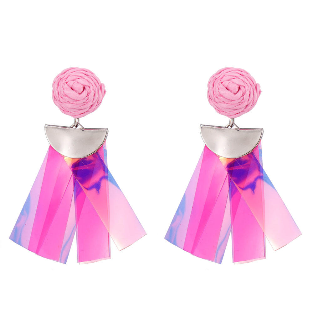 Handmade Raffia Plastic Pieces Tassel Earrings-2