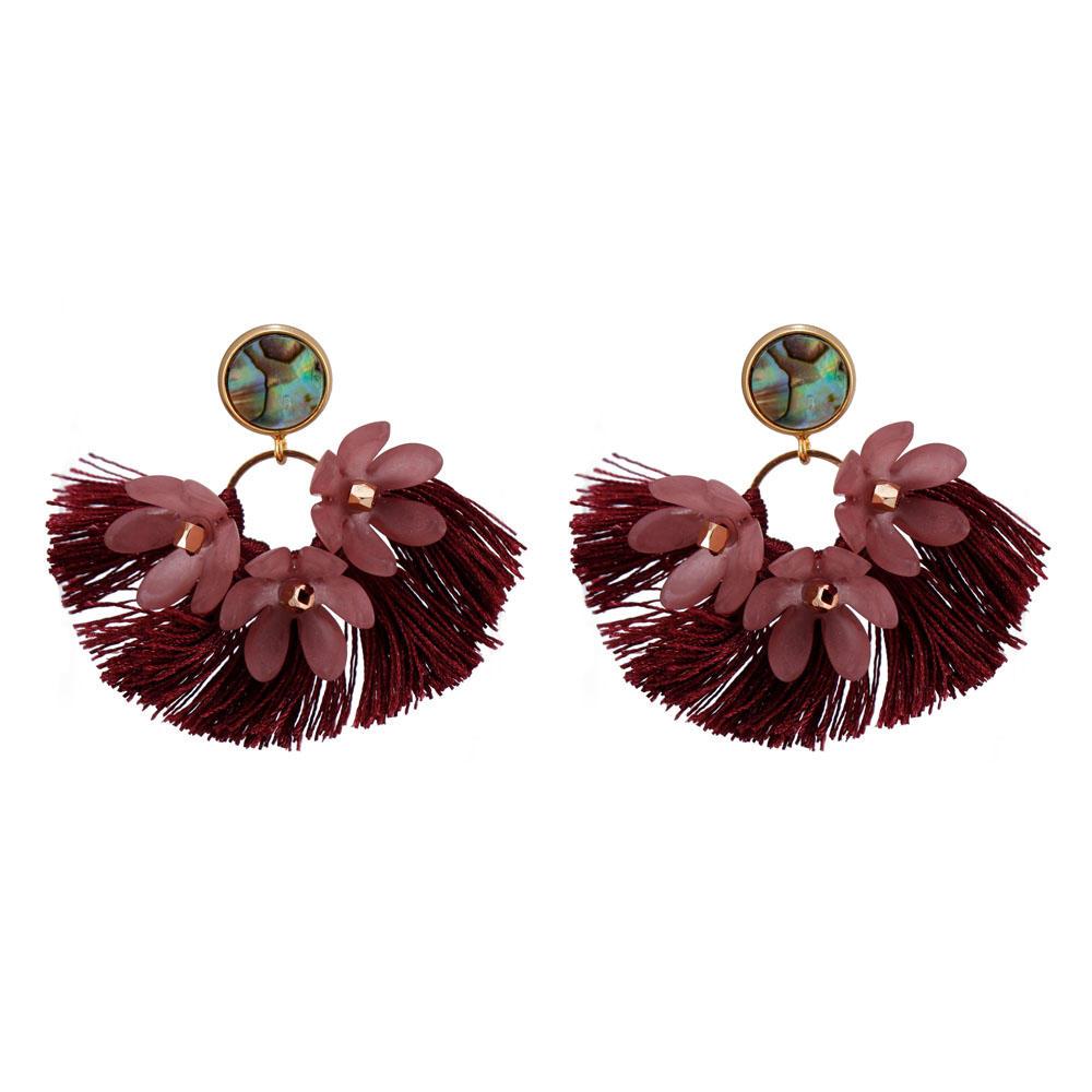 Handmade Abalone Shell Plastic Piece Tassel Earrings-1