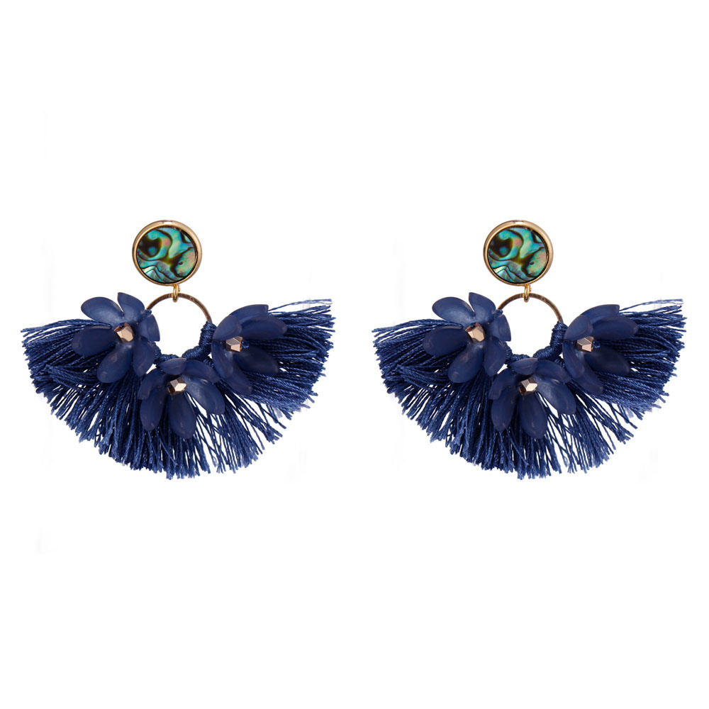 Handmade Abalone Shell Plastic Piece Tassel Earrings-3